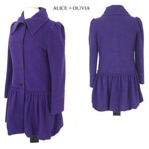 Alice + Olivia purple wool blend coat Sz M